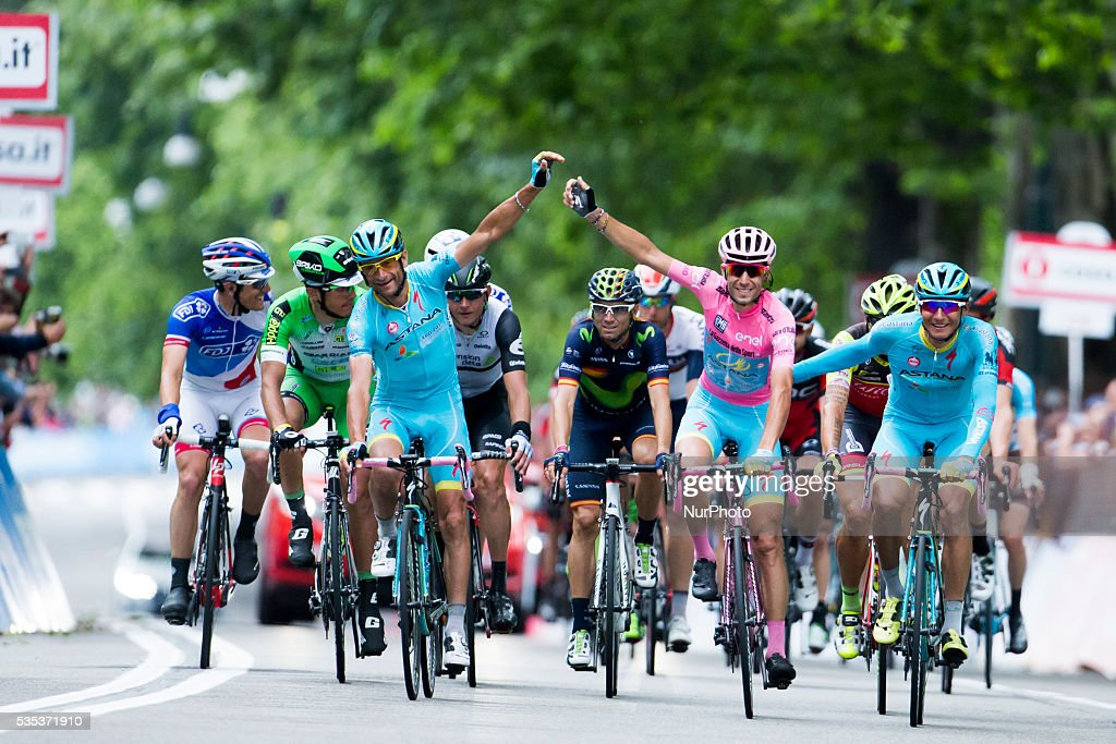Giro d'Italia final stage, <a gi-track='captionPersonalityLinkClicked' href=/galleries/search?phrase=Vincenzo+Nibali&family=editorial&specificpeople=770634 ng-click='$event.stopPropagation()'>Vincenzo Nibali</a> (Astana Pro Team) reacts after he won the Giro in Turin, Italy, on 29 May 2016.