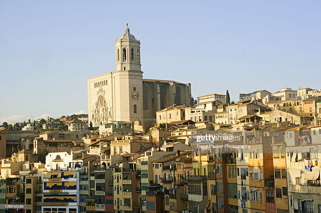 Girona Cathedral over city in evening light : Stock Photo