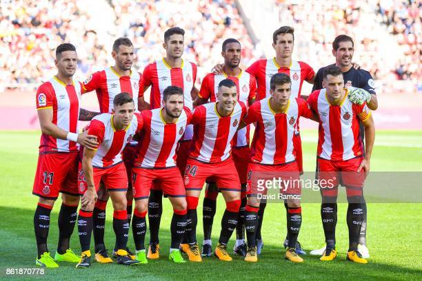 Girona CF players pose for a team picture prior to the La Liga match between Girona and Villarreal at Estadi de Montilivi on October 15 2017 in...