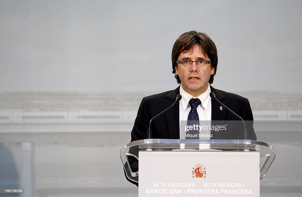 Girona's city Major Carles Puigdemont attends a press presentation at Girona train station during the inauguration of the AVE high-speed train line between Barcelona and the French border on January 8, 2013 in Barcelona, Spain.