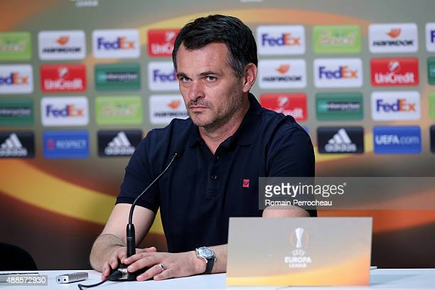 Girondins de Bordeaux Head Coach Willy Sagnol during the press conference of Girondins de Bordeaux at the Matmut Stadium ahead their Europa league...