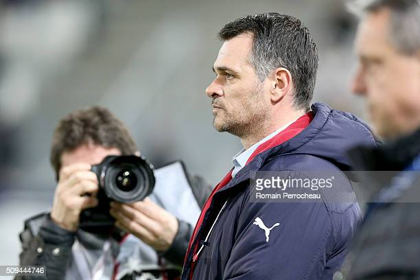 Girondins de Bordeaux's head coach Willy Sagnol looks on before the French Cup match between FC Girondins de Bordeaux and FC Nantes at Stade Matmut...