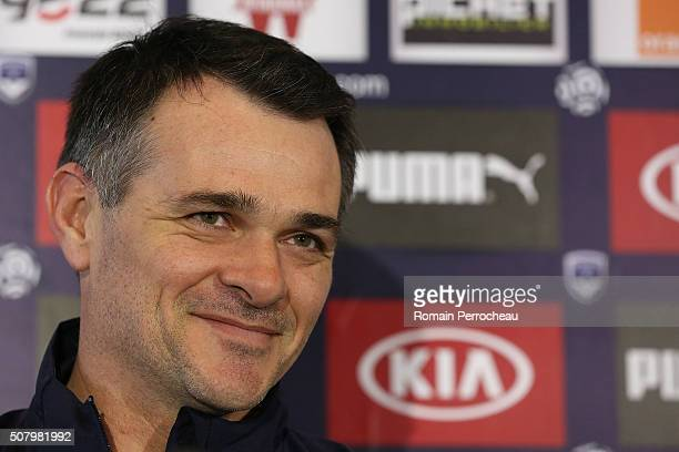 Girondins de Bordeaux's head coach Willy Sagnol looks on during a press conference at Bordeaux's training ground Chateau du Haillan on February 2...