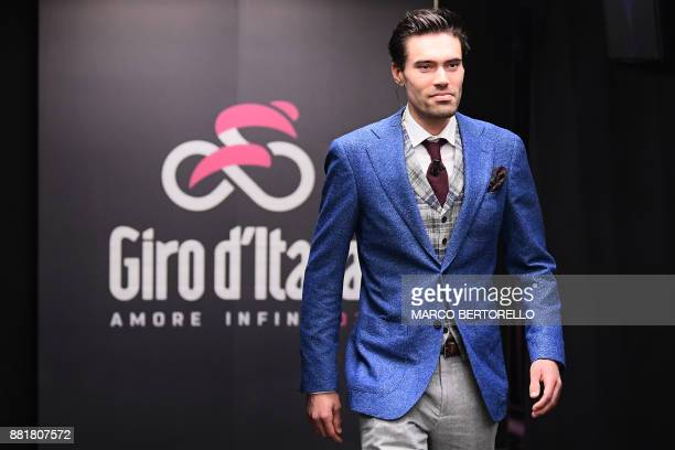 Giro's title holder Tom Dumoulin from Netherlands attends the presentation of the 2018 Tour of Italy cycling race on November 29 2017 in Milan / AFP...