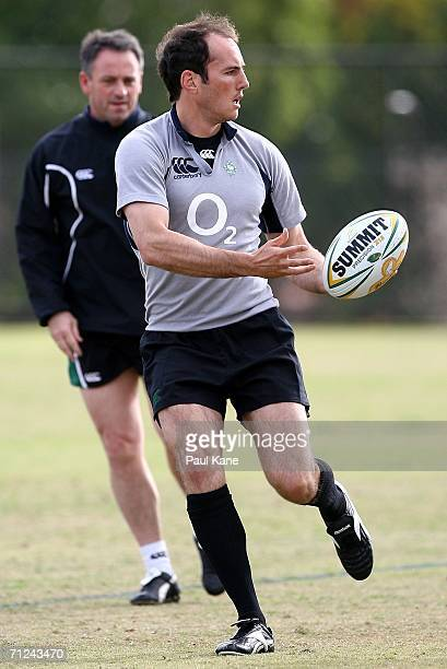 Girvan Dempsey of Ireland in action during the Ireland Rugby Union team training session at Wesley School June 20 2006 in Perth Australia