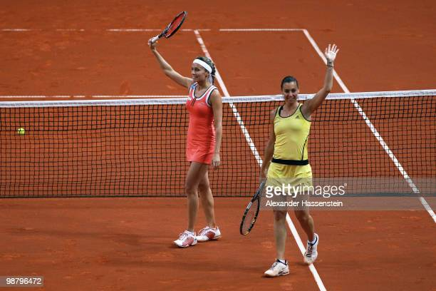 Gisela Dulko of Argentina celebrates with her team mate Flavia Pennetta of Italy winning the doubles final match against Kveta Peschke of Czech...