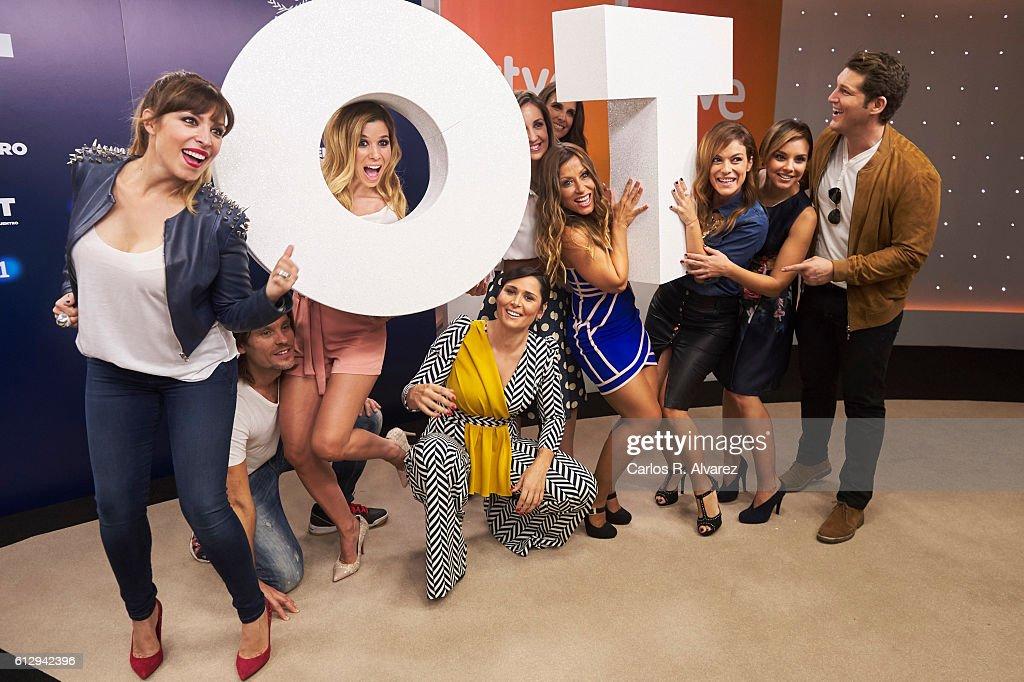 Gisela, Javian, Natalia, Rosa Lopez, Mireia Montavez, Nuria Fergo, Veronica Romeo, Geno Machado, Chenoa and Manu Tenorio attend 'OT 1 El Reencuentro' televison talent show at TVE studios on October 6, 2016 in Madrid, Spain.