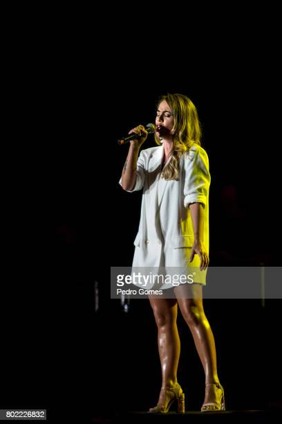 Gisela Joao performs during Juntos por Todos solidarity concert for the victims of the forest fires in the Pedrogao Grande region of Portugal on June...