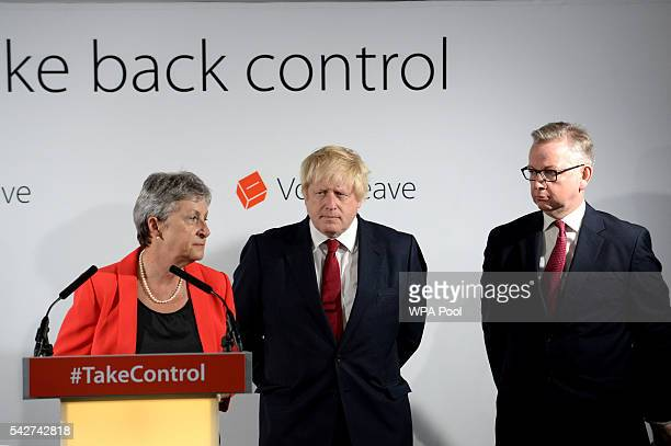Gisela Stuart Boris Johnson and Michael Gove hold a press conference following the results of the EU referendum at Westminster Tower on June 24 2016...