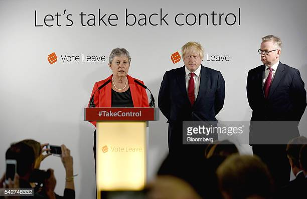 Gisela Stuart Labour member of parliament speaks as Boris Johnson former mayor of London centre and Michael Gove UK justice secretary listen during a...
