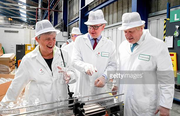 Gisela Stuart Labour MP Michael Gove MP and Former Mayor of London Boris Johnson visit the DCS Group as part of the 'Vote Leave' campaign on June 6...
