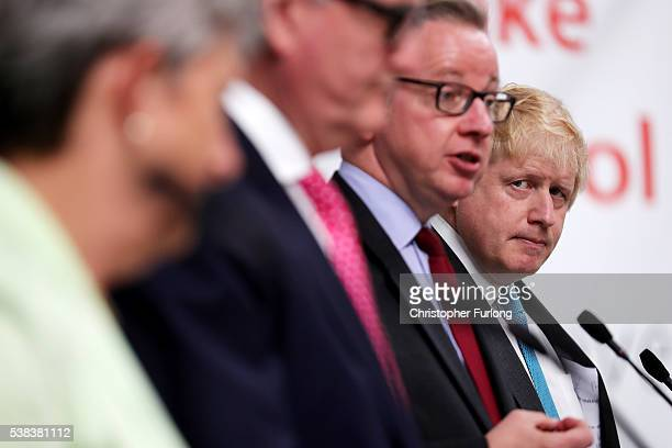 Gisela Stuart MP Chairman of the Vote Leave business council John Longworth Michael Gove MP and Boris Johnson MP address workers during a Vote Leave...