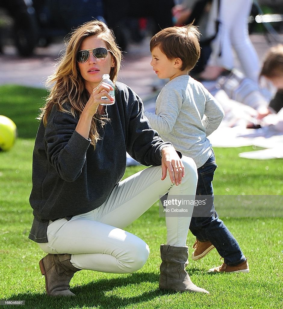 Gisele Bündchen and Benjamin Brady are seen in Battery Park City on May 4, 2013 in New York City.