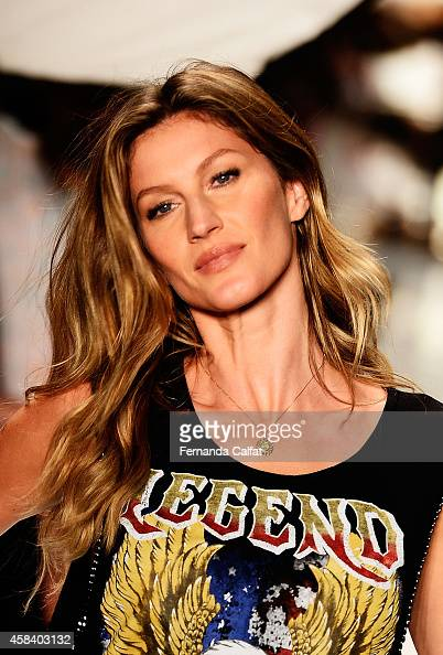 Gisele Bündchen is seen on the runway rehearsing for the Colcci fashion show during Sao Paulo Fashion Week Winter 2015 at Parque Candido Portinari on...