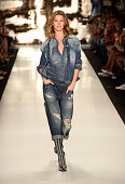 Gisele Bündchen walks the runway at the Colcci fashion show during Sao Paulo Fashion Week Winter 2015 at Parque Candido Portinari on November 4 2014...