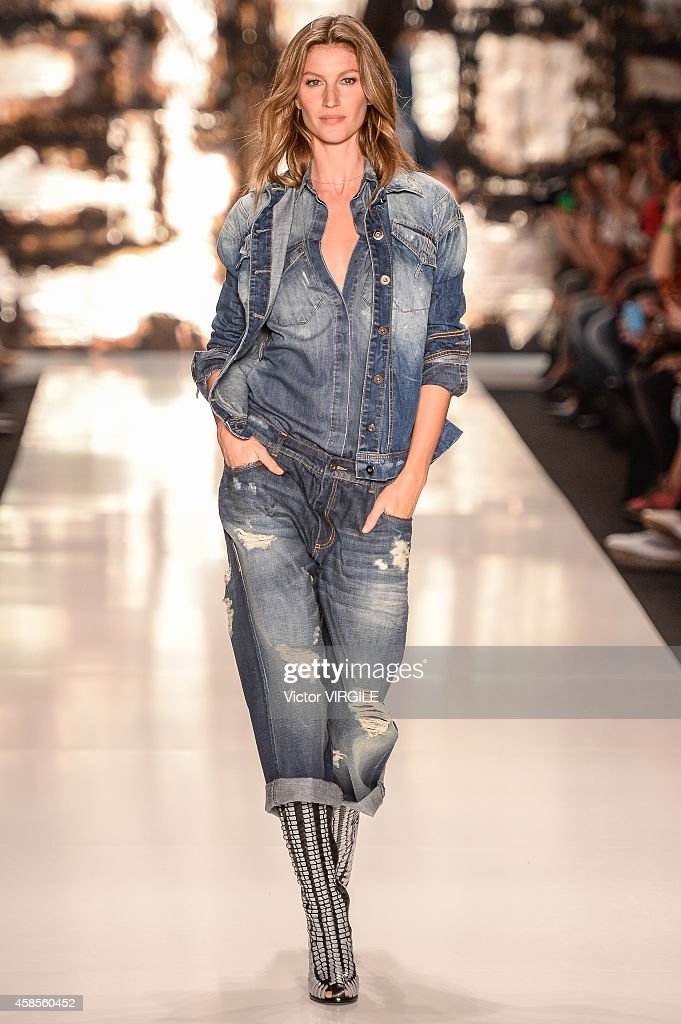 Gisele Bndchen walks the runway at the Colcci fashion show during Sao Paulo Fashion Week Winter 2015 at Parque Candido Portinari on November 4 2014...