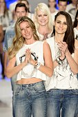 Gisele Bundchen and Fernanda Tavares walk the runway during the Colcci show at SPFW Summer 2016 at Parque Candido Portinari on April 15 2015 in Sao...