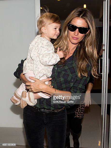 Gisele Bundchen and her daughter Vivian Lake Brady are seen at LAX airport on February 09 2014 in Los Angeles California