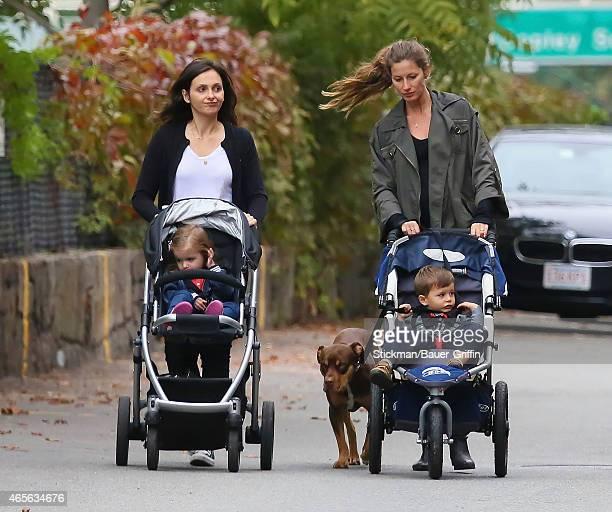 Gisele Bundchen and her son Benjamin Rein Brady are seen walking her dog Lua on September 22 2012 in Boston Massachusetts