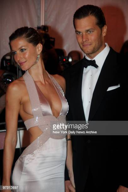 Gisele Bundchen and Tom Brady at the Costume Institute Gala celebrating SuperheroesFashion and Fantasy and held at the Metropolitan Museum of Art