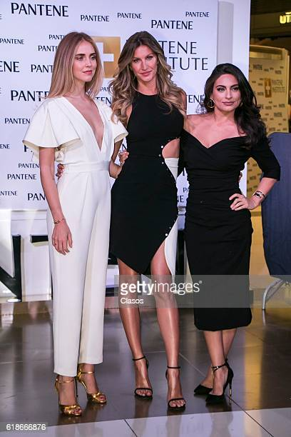 Gisele Bundchen Chiara Ferragni and Ana Brenda Contreras pose during the opening of the Pantene Institute on October 26 2016 in Mexico City Mexico