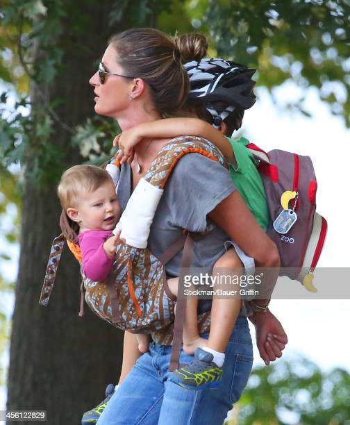 Gisele Bundchen is seen carrying her children Benjamin Brady and Vivan Brady on August 30 2013 in Boston Massachusetts