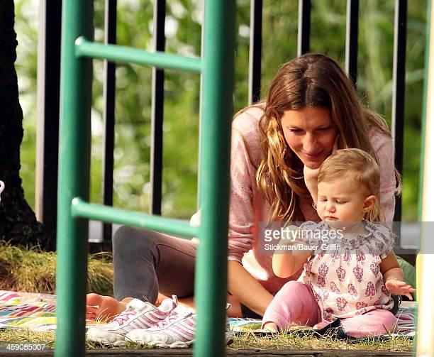 Gisele Bundchen took her children Benjamin Brady Vivian Lake Brady and stepson Jack Moynihan to the park on September 02 2013 in Boston Massachusetts