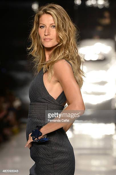 Gisele Bundchen walks the runway during the Colcci show at Sao Paulo Fashion Week Summer 2014/2015 at Parque Candido Portinari on April 2 2014 in Sao...