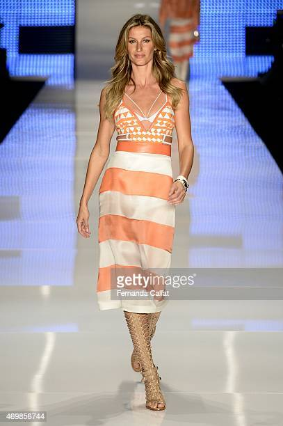 Gisele Bundchen walks the runway during the Colcci show at SPFW Summer 2016 at Parque Candido Portinari on April 15 2015 in Sao Paulo Brazil