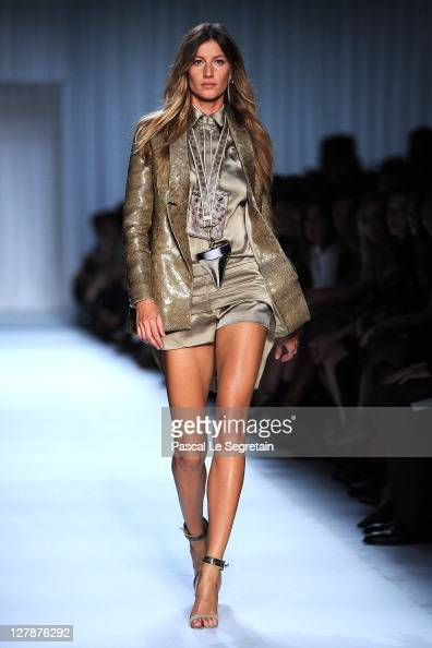Gisele Bundchen walks the runway during the Givenchy Ready to Wear Spring / Summer 2012 show during Paris Fashion Week on October 2 2011 in Paris...