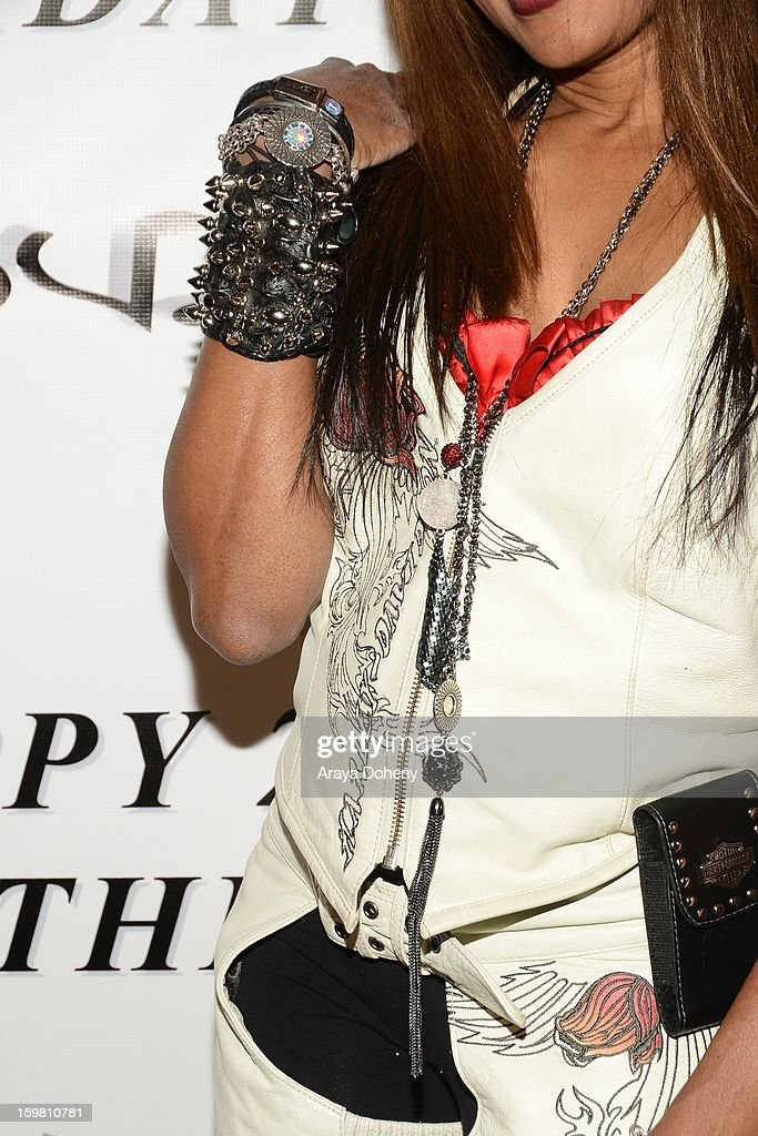 Gisele Rebeiro wearing Bartels Harley Davidson and Bad Azz Shoes and KD Luxe Jewelry attends Zhavea's 21st Birthday Bash At A Private Mansion In Hollywood event on January 19, 2013 in Hollywood, California.