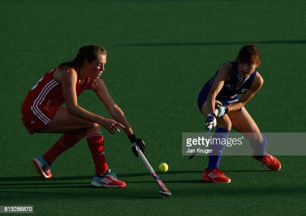 Giselle Ansley of England and Minami Shimizu of Japan battle for possession during day 3 of the FIH Hockey World League Semi Finals Pool A match...