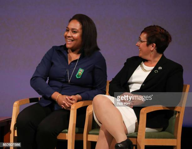 Giselle Burgess Leader Troop 6000 and Meredith Maskara CEO Girl Scouts of Greater New York attend Fast Forward Women's Innovation Forum at The...
