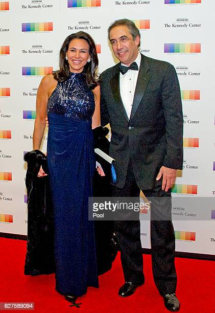 Giselle Fernández and guest arrive for the formal Artist's Dinner honoring the recipients of the 39th Annual Kennedy Center Honors hosted by United...