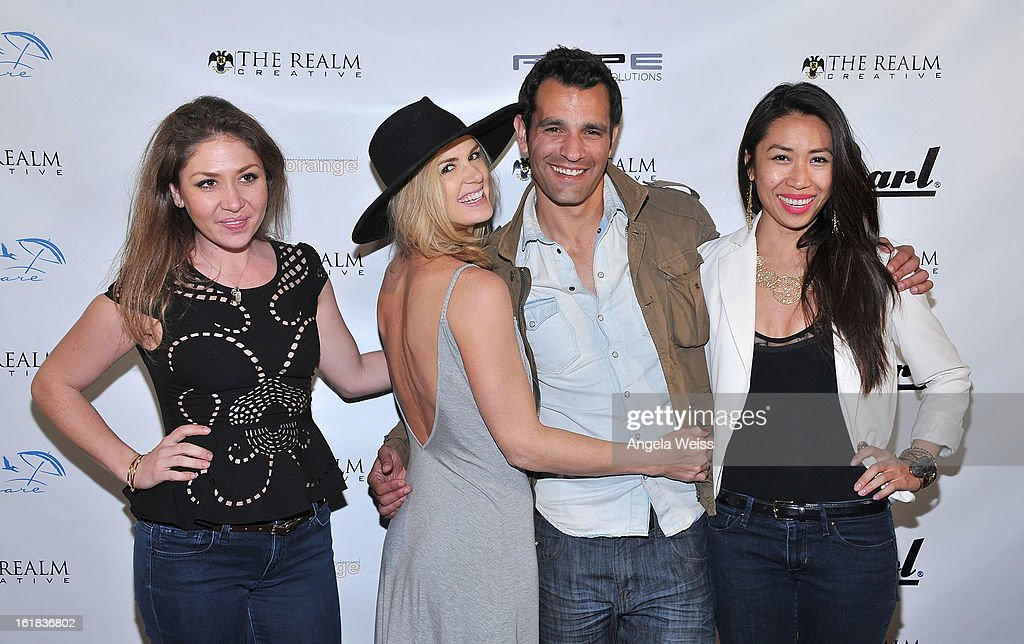 Gisselle Malsitano, Janna Williams, Dave Baez and Christine Chang attend The Realm Creative red carpet premier party on February 16, 2013 in Los Angeles, California.