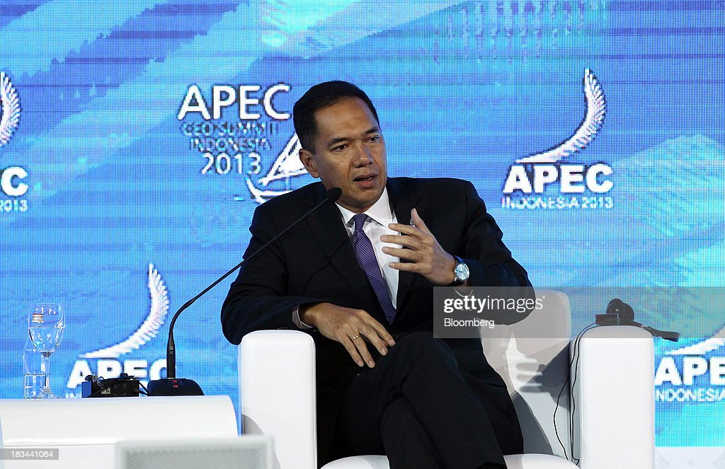 Gita Wirjawan, Indonesia trade minister, speaks during a panel discussion at the Asia-Pacific Economic Cooperation (APEC) CEO Summit in Nusa Dua, Bali, Indonesia, on Sunday, Oct. 6, 2013. Global growth will probably be slower and less balanced than desired, ministers from the APEC member economies said as they agreed to refrain from raising new barriers to trade and investment. Photographer: SeongJoon Cho/Bloomberg via Getty Images