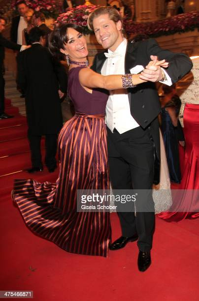 Gitta Saxx and Paul Janke attend the traditional Vienna Opera Ball at Vienna State Opera on February 27 2014 in Vienna Austria