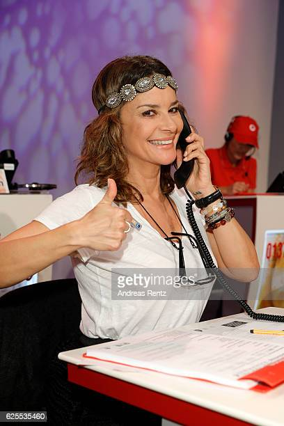 Gitta Saxx is seen in the studio of the RTL Telethon TV show on November 24 2016 in Cologne Germany The telethon is held every year and is on air for...