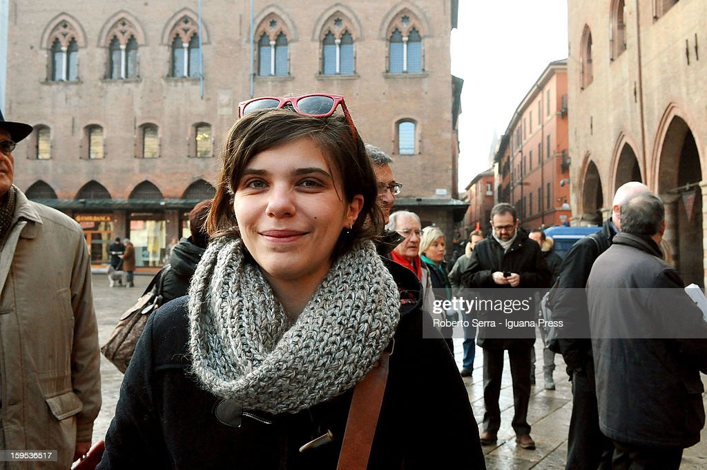 Giuditta Pini, PD's candidate at Italian Parliament in the next political elections, arrives at the press conference to present herself at Farnese Chapel of Palazzo D'Accursio on January 15, 2013 in Bologna, Italy. The elections of a new Italian Parliament will take place on February 24.