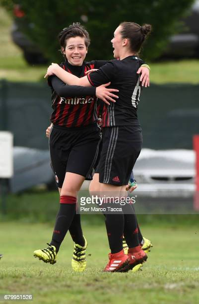 Giulia Avallone of AC Milan Women Under 12 celebrates his goal with Alessandra Cigallino during the match between AC Milan and SSV Brixen obi for...