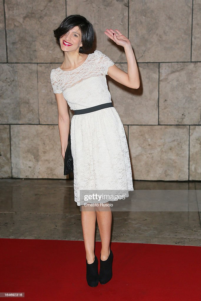 Giulia Bevilacqua attends the 'Viaggio Sola' premiere at Ara Pacis on March 26, 2013 in Rome, Italy.