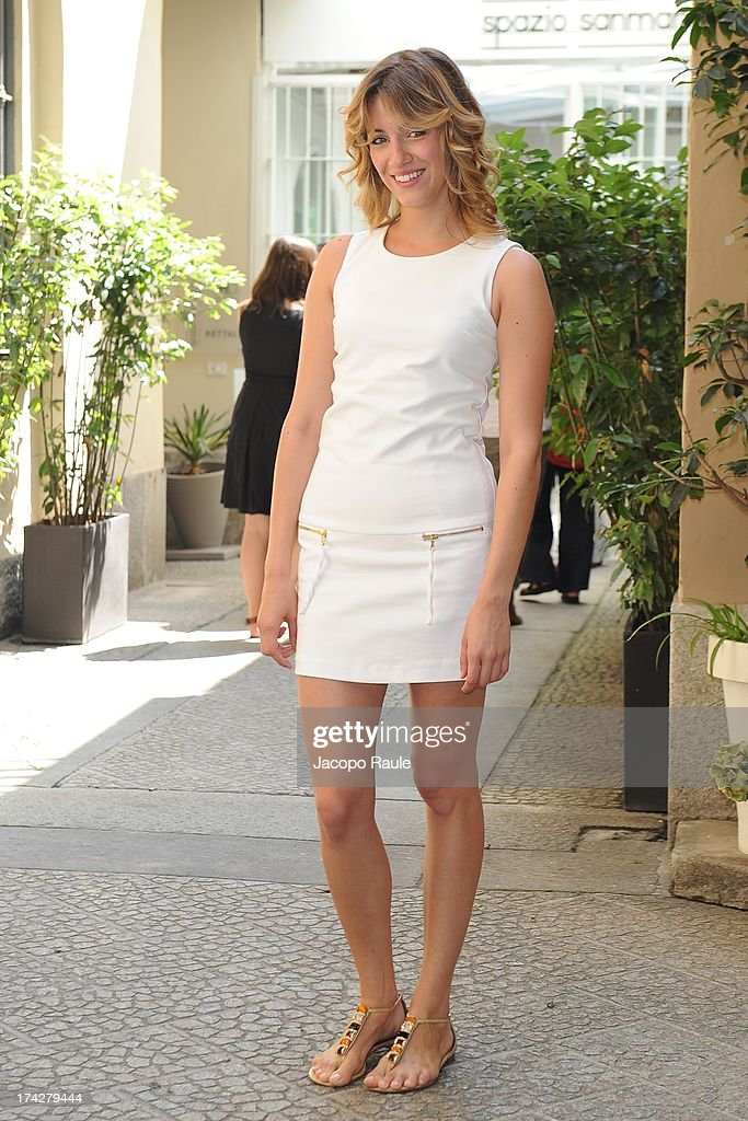 Giulia Carpaneto attends 'Vent'Anni Prima' Press Conference on July 23, 2013 in Milan, Italy. Vanity Fair and Rai Fiction present today the first mag series.