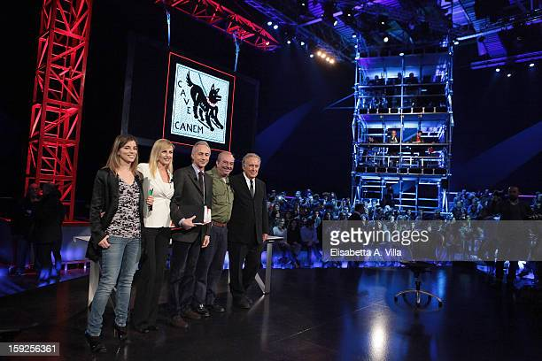 Giulia Innocenzi Luisella Costamagna Marco Travaglio Vauro and Michele Santoro attend 'Servizio Pubblico' Italian TV Show at Cinecitta on January 10...