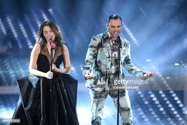 Giulia Luzi and Raige attend the second night of the 67th Sanremo Festival 2017 at Teatro Ariston on February 8 2017 in Sanremo Italy