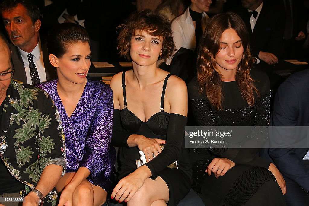Giulia Michelini, Camilla Filippi and Catrinel Marlon attend the Jean Paul Gaultier Couture fashion show as part of AltaRoma AltaModa Fashion Week Autumn/Winter 2013 on July 7, 2013 in Rome, Italy.
