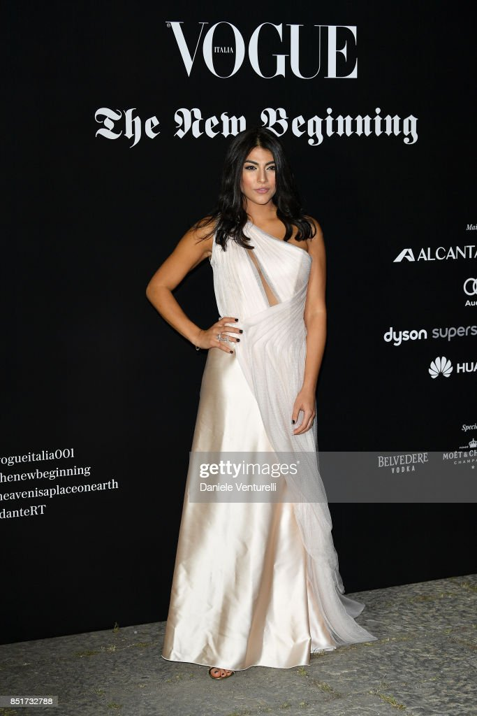Giulia Salemi attends theVogue Italia 'The New Beginning' Party during Milan Fashion Week Spring/Summer 2018 on September 22, 2017 in Milan, Italy.
