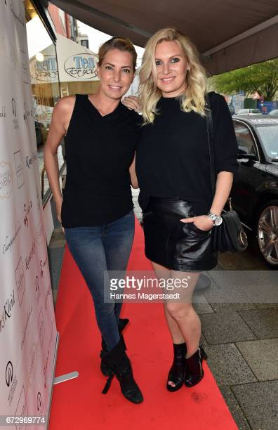 Giulia Siegel and Magdalena Brzeska during the 'Kunst Kleid' fashion cocktail on April 25 2017 in Munich Germany