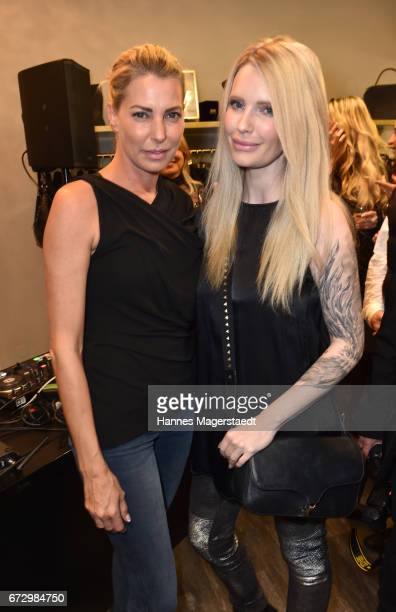 Giulia Siegel and Mirja du Mont during the 'Kunst Kleid' fashion cocktail on April 25 2017 in Munich Germany