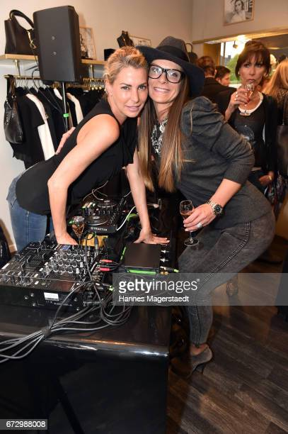 Giulia Siegel and Nicole Hayduga during the 'Kunst Kleid' fashion cocktail on April 25 2017 in Munich Germany