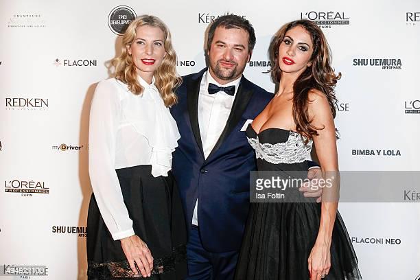 Giulia Siegel Hauke Schmidt and Janina Youssefian attend the Flaconi Neo Salon Opening on October 29 2015 in Berlin Germany